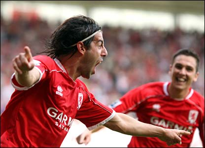 Julio Arca celebrates scoring for Middlesbrough