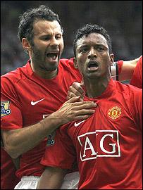 United celebrate Nani's winner