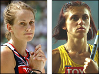 Kelly Sotherton (left) and Lyudmila Blonska
