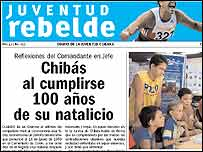 Front page of Juventud Rebelde with Fidel Castro's article
