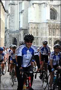 Cyclists leaving Canterbury Cathedral (pic: Canterbury Cathedral)