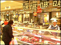 Person at butcher's counter in supermarket