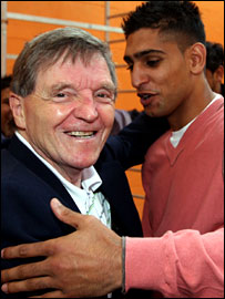 Coach Gerry Jones with boxer Amir Khan