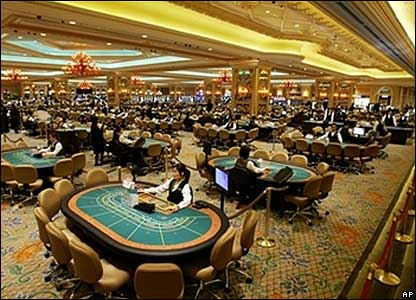 Gambling tables inside the casino during the opening ceremony