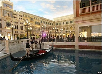 The Venetian's indoor canal and replica of St Mark's Square in Venice