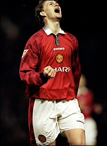 Ole Gunnar Solskjaer celebrates one of his two goals against Sunderland in December 1996