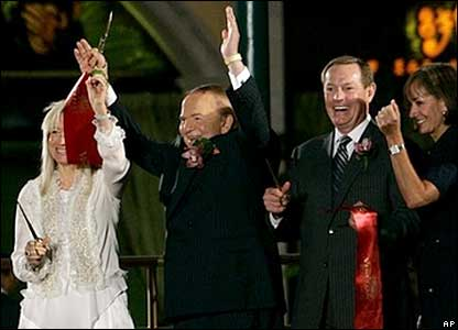 Las Vegas Corp Chairman Sheldon Adelson attends the opening ceremony