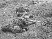 Bodies of soldiers killed in action