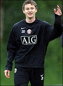 Ole Gunnar Solskjaer in training with Manchester United