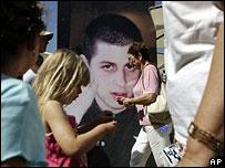 A poster of Corporal Gilad Shalit in Tel Aviv