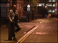 An Ipswich street with a prostitute