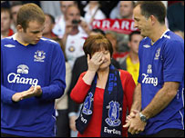 Rhys Jones's parents received an emotional reception at Anfield