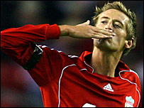 Peter Crouch celebrates putting Liverpool ahead