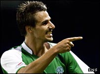 Filipe Morais celebrates his goal for Hibs