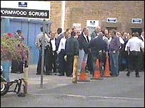 Striking prison officers outside Wormwood Scrubs