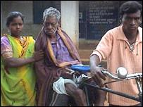 A cholera patient being taken to hospital in Orissa