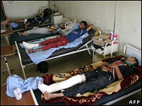 Injured pilgrims in Karbala