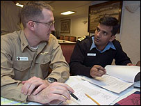 US and Indian naval officers