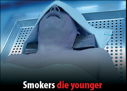 Tobacco packet warning of dead smoker