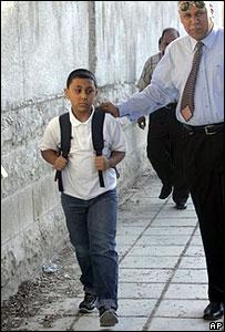 An Iraqi boy starts school in Jordan