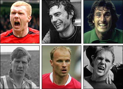 Clockwise from top left: Paul Scholes, Sir Trevor Brooking, Ray Clemence, Ray Wilson, Dennis Bergkamp, Len Shackleton