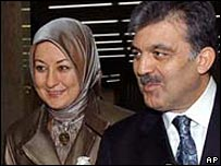 First Lady Hayrunissa Gul (l) and President Abdullah Gul (r)