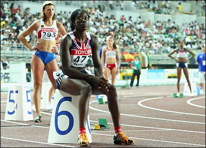 Ohuruogu sits on her block ahead of the race