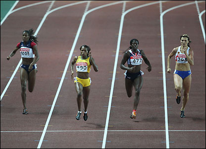 Jamaican Novlene Williams leads the way to the line