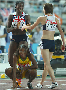 Ohuruogu and Sanders celebrate after their achievement is confirmed