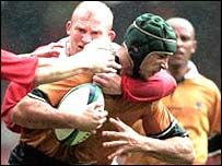 Matt Cockbain in action against Wales in the 1999 World Cup