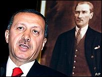 Recep Tayyip Erdogan before a portrait of Mustafa Kemal Ataturk