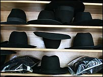 Haredi men's hats (photo: Tim Franks)
