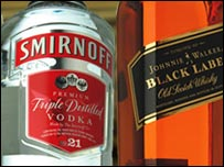 Smirnoff and Johnnie Walker bottles