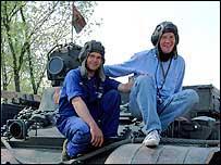 Michael Palin on a TU-55 tank