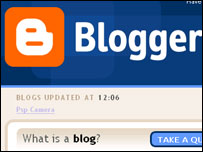 Screengrab of Blogger homepage, Google