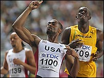 Tyson Gay (centre) left Usain Bolt (right) and Wallace Spearmon trailing to win 200m gold