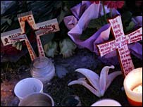 Crosses laid at a memorial