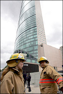 Firefighters at Torre Mayor, Mexico City