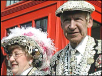 Pearly king and queen in London