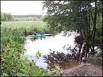 Canoe in Rospuda wetlands