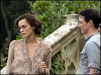 Keira Knightley and James McAvoy in a scene from Atonement