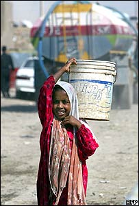Girl carrying water in Baghdad