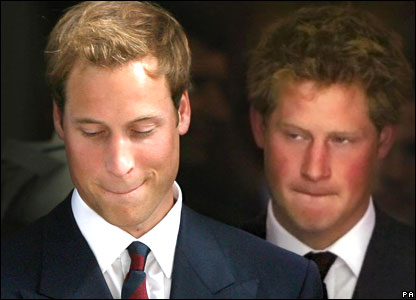 Prince William and Prince Harry after the service