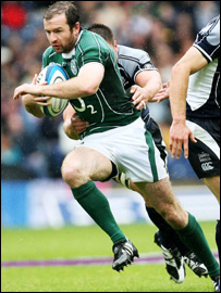 Geordan Murphy in action against Scotland at Murrayfield