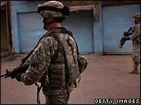 US soldiers on patrol in Baghdad (file photo)