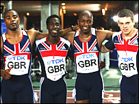 Mark Lewis-Francis, Christian Malcolm, Marlon Devonish and Craig Pickering celebrate their bronze