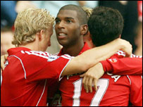 Ryan Babel celebrates after scoring Liverpool's second goal