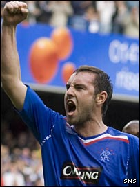 Kris Boyd celebrates Rangers' opening goal