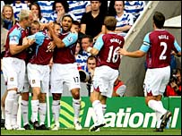 West Ham's players celebrate Craig Bellamy's opener