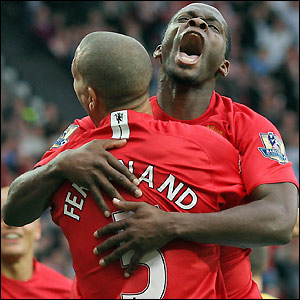 Saha reacts after scoring the winning goal